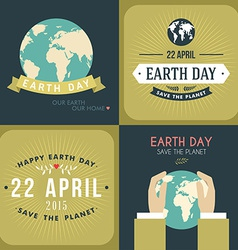 Set of vintage earth day celebrating card or vector