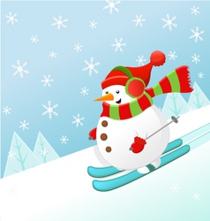 Skiing Snowman vector image vector image