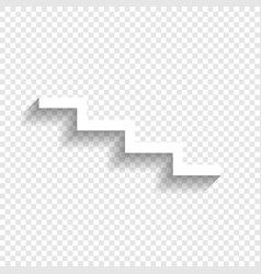 Stair down sign white icon with soft vector