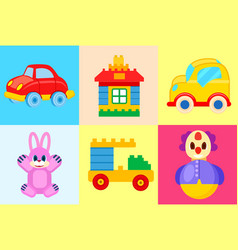 toys collection isolated on colorful backgrounds vector image