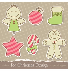 vintage christmas scrapbook elements vector image vector image