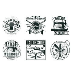vintage tailor workshop labels set vector image