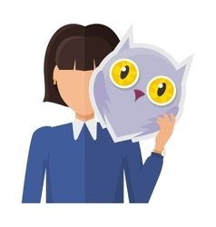 Woman character in jacket with owl mask in hand vector