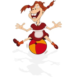 The cheerful smiling girl plays with a ball vector