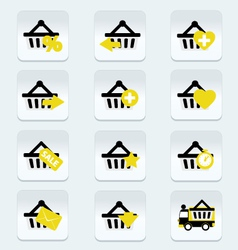Ecommerce shopping basket flat icons set 1 vector