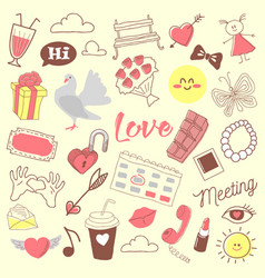 Love romance hand drawn doodle with hearts vector