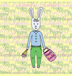Happy easter day greeting card with cute easter vector