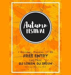 Fall festival template bright colourful autumn vector