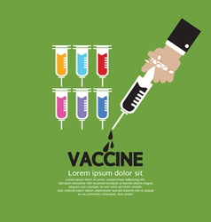 Hand holding syringe with vaccine inside vector
