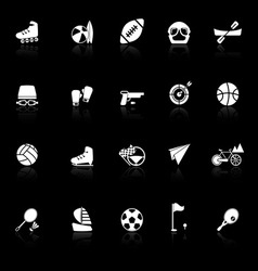 Extreme sport icons with reflect on black vector image