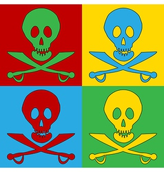 Pop art jolly roger icons vector