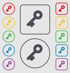 Key icon sign symbol on the round and square vector