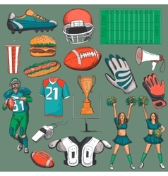 Hand drawn American Football collection vector image