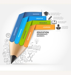 Education pencil staircase infographics vector
