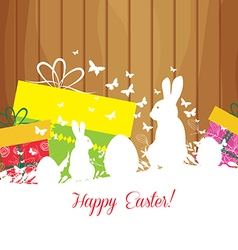 Easter greeting card with rabbit gift and lights vector