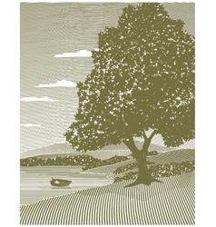 woodcut lake landscape vector image