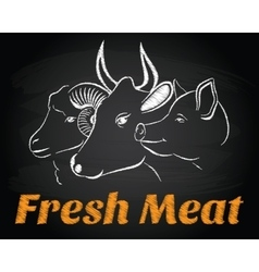 Fresh meat animals chalkboard sign emblem vector