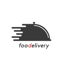Food delivery with black dish vector
