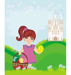 Abstract Easter card with little girl and the vector image