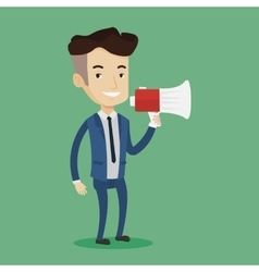 Businessman speaking into megaphone vector