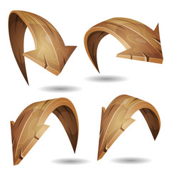 Cartoon wood arrows signs set vector