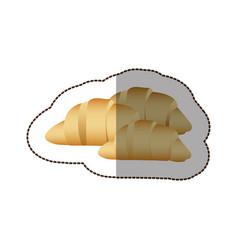 Colorful croissant bread icon vector