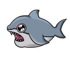 cute cartoon shark shark on white background vector image