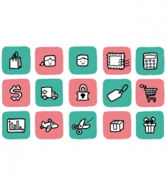 doodle icon set shopping vector image vector image