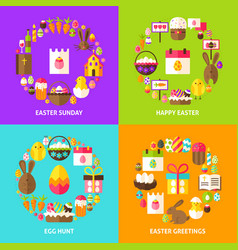 Easter holiday concepts set vector