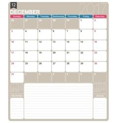 English calendar 2017 vector