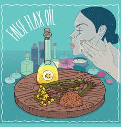 False flax oil used for skin care vector
