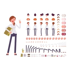 Female clerk character creation set vector