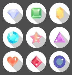 Gem stone flat color icons with long shadow vector