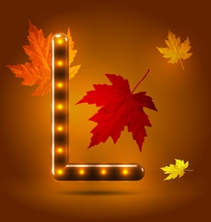 Glossy retro autumn lighted up abc vector image