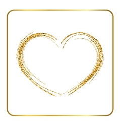 Gold heart silhouette vector image