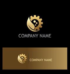 Gold leaf gear work bio logo vector