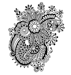 Hand draw black and white line art ornate flower vector
