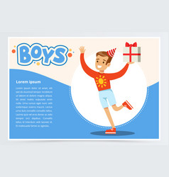 Happy boy running with gift box cute kid vector