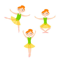 Little smiling ballerinas in dance pattern art vector