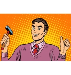 Male hammer tool vector image vector image