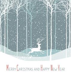 Merry Christmas postcard Christmas deer Calm vector image