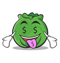 Money mouth cabbage cartoon character style vector