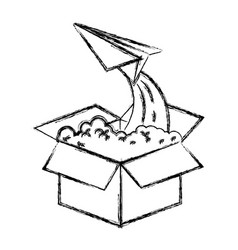 Monochrome blurred silhouette of cardboard box and vector