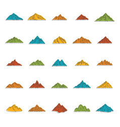 mountain doodle icons set vector image