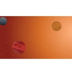 Outer space scenery on orange background vector