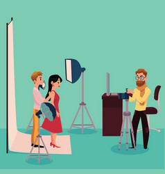 photographer taking pictures shooting couple in vector image vector image