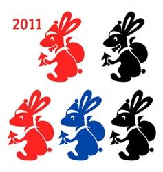 rabbit santa vector image vector image