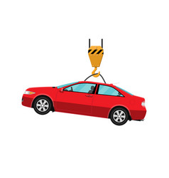 Red coupe car hanging on hook crane vector