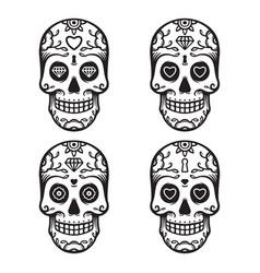 Set of monochrome sugar skulls vector