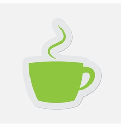 Simple green icon - cup with smoke vector